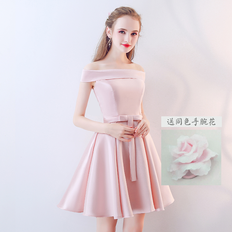 2018bd127d3d bridesmaid clothes short 2019 new pink sister skirt bridesmaid dress female  korean style spring girlfriend dress sister group