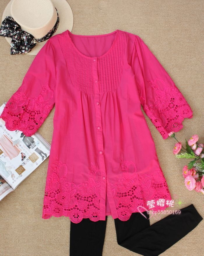 женская рубашка Other Casual Однотонный цвет Лето 2012 Оборка Закругленный вырез Один ряд пуговиц