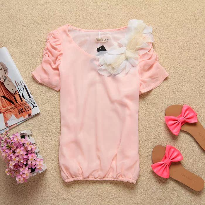 Блузка Корейская версия нового лета рубашка женский цветок шифон шифон рубашку малых 1115
