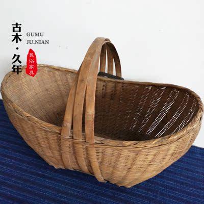 老旧竹筐子民俗老物件手工旧竹筐旧竹篮子竹编影视道具古玩杂项