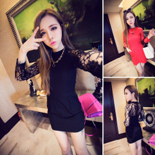 Europe and the United States big sexy club couture fashion temperament tight package buttocks lace long sleeve render of cultivate one's morality dress