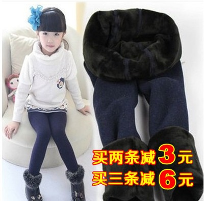 Colorful autumn and winter warm pants cotton seamless integration of children of color plus thick velvet leggings girls pants trousers one