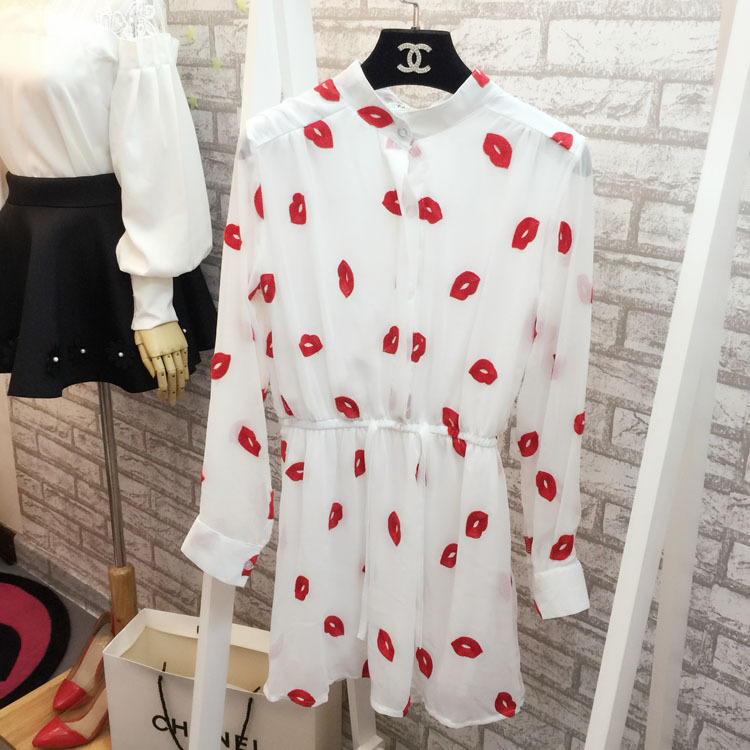 Chung Hee new spring and summer 2015 Women Korean waist strap chiffon dress embroidered lips