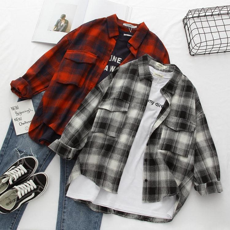 韩版BF风复古长袖大格子衬衫女学生简约休闲宽松韩范大衬衣外套