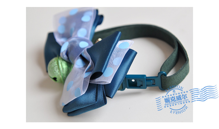 New NICOVAER bell ribbon organza bow tie cravat 2 color dog jewelry pet bow tie collar flower