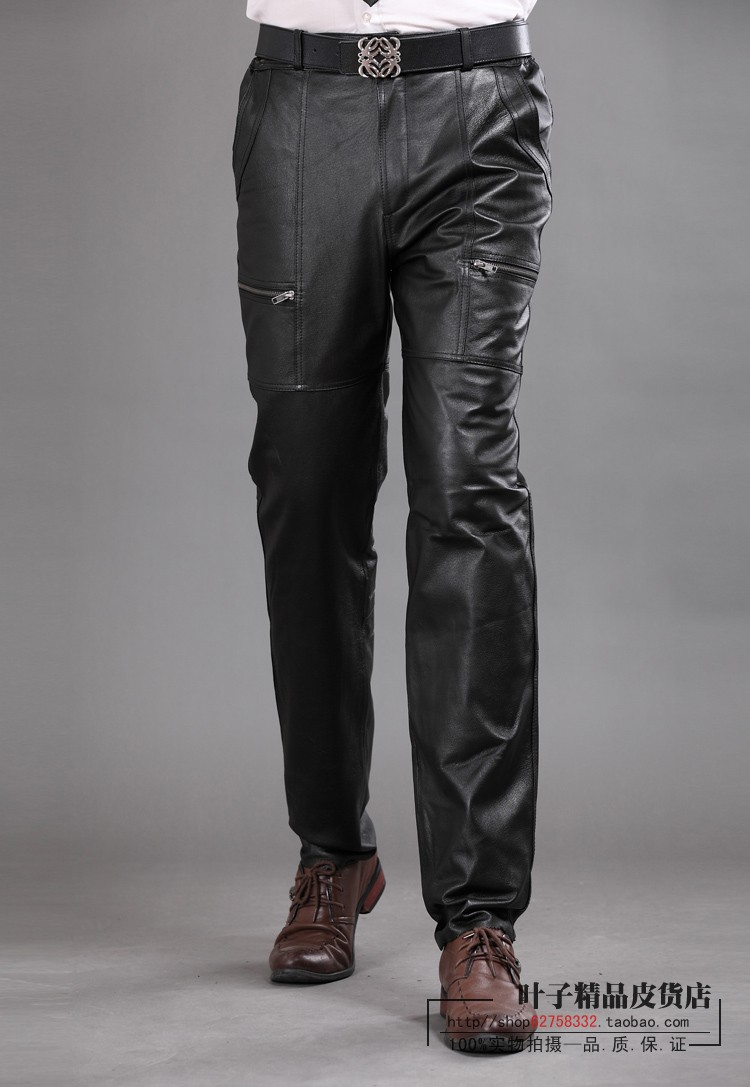 TUCANO Durable Leather Casual Warm Plush Inner Slim Solid Breathable Men Pants